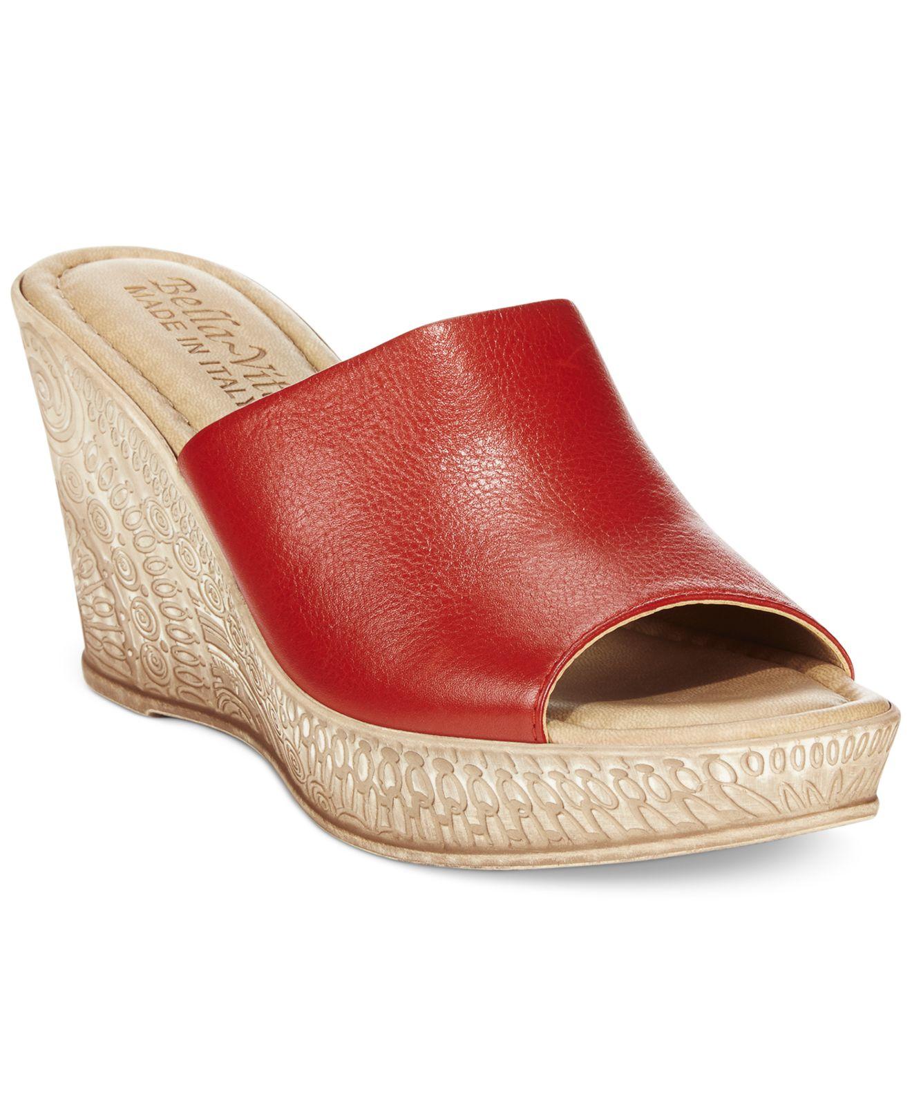 Lyst bella vita mileto wedge mules in red for The bella vita