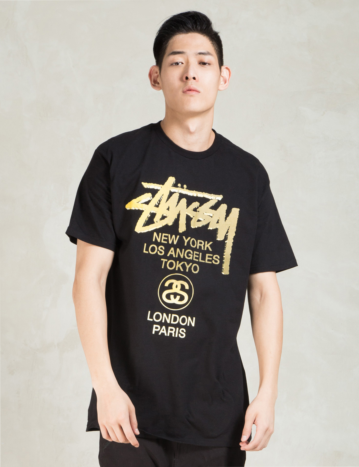 stussy black wt gold t shirt in black for lyst
