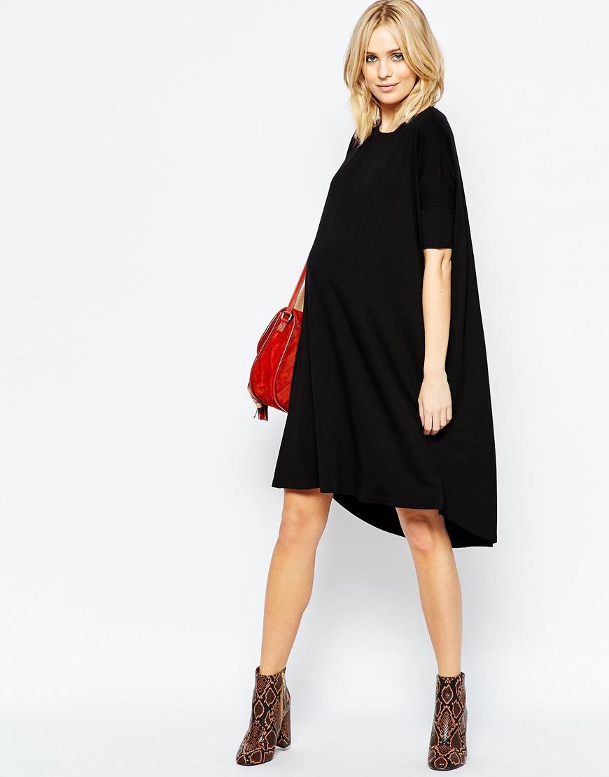 04152ece42 ASOS Midi T Shirt Dress in Black - Lyst