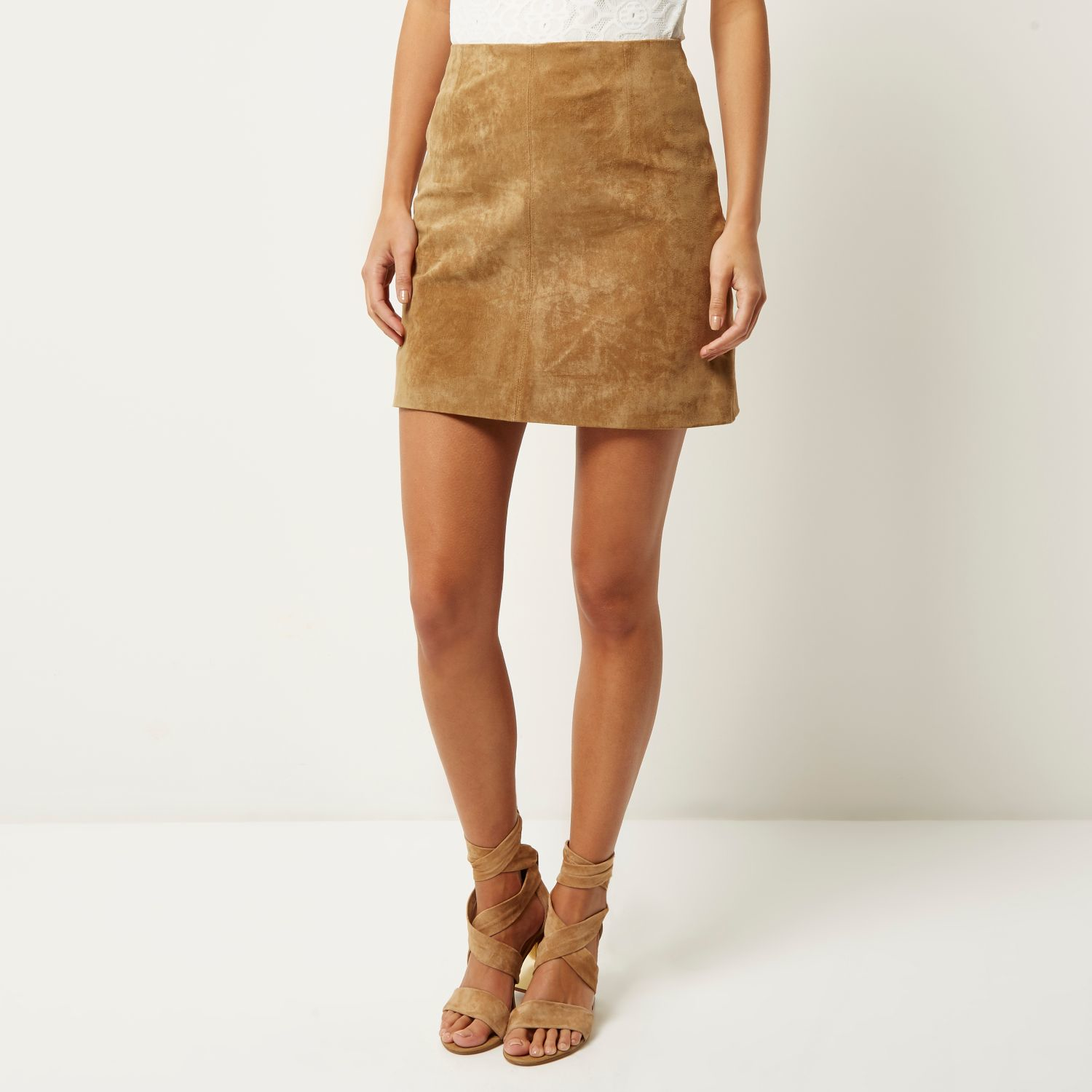 River island Light Brown Suede Mini Skirt in Brown | Lyst