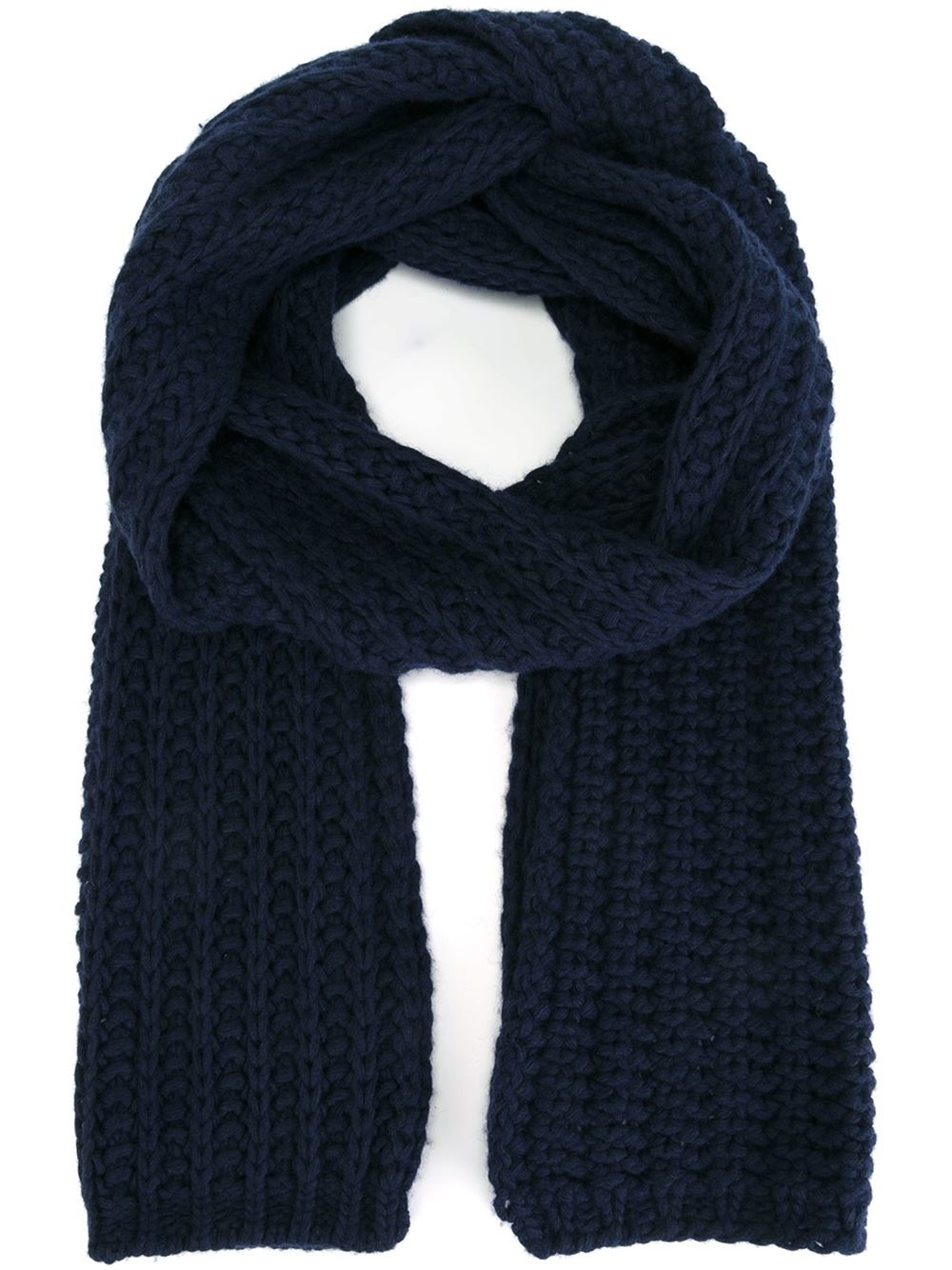 moncler chunky knit scarf in blue lyst
