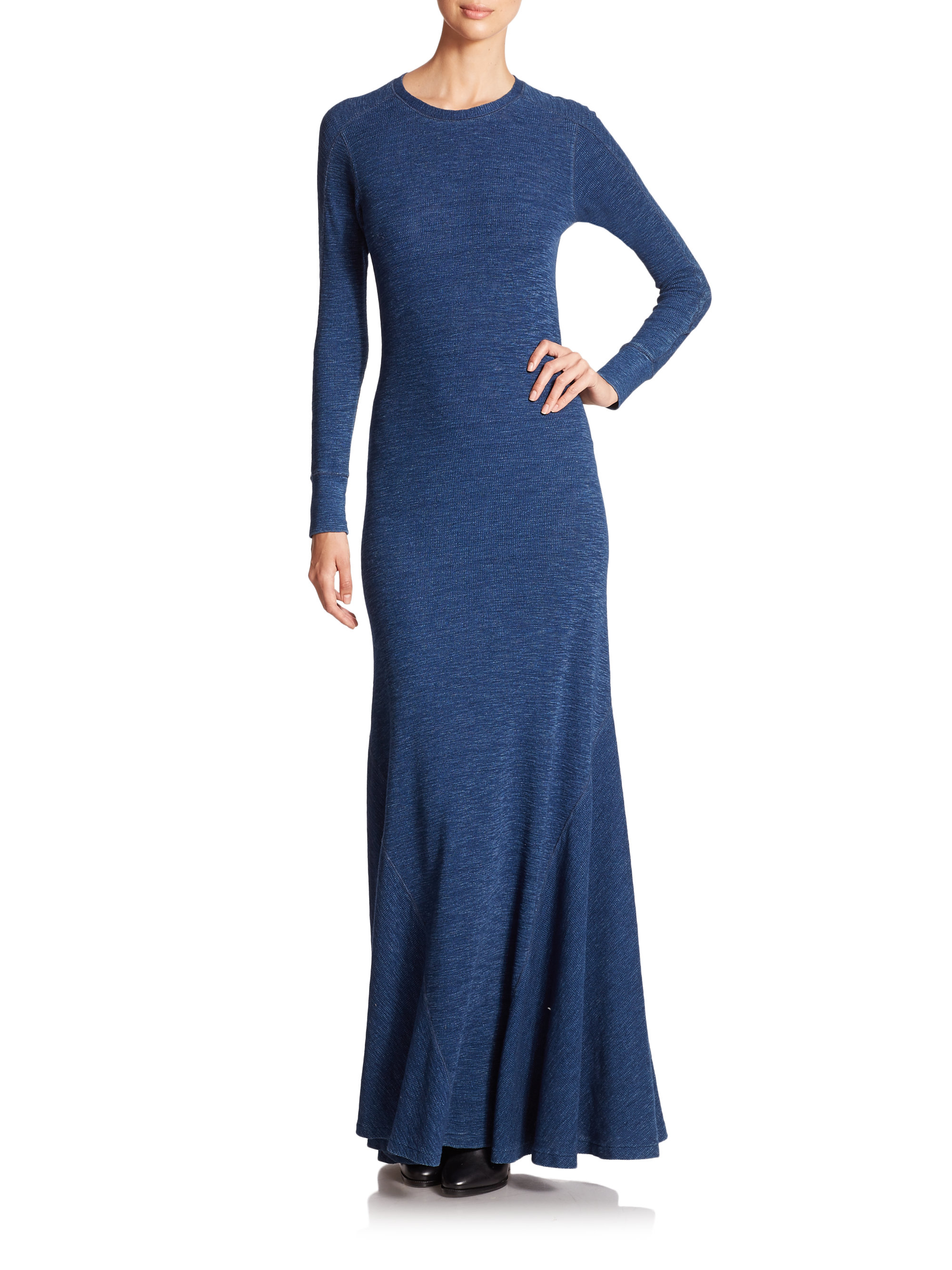 Polo ralph lauren Cotton Maxi Dress in Blue | Lyst