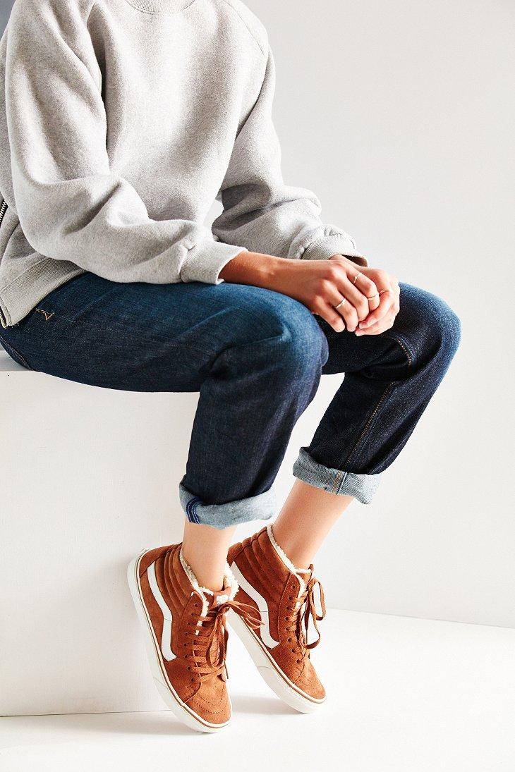 efc694df5d Lyst - Vans Sk8-hi Fleece Sneaker in Brown