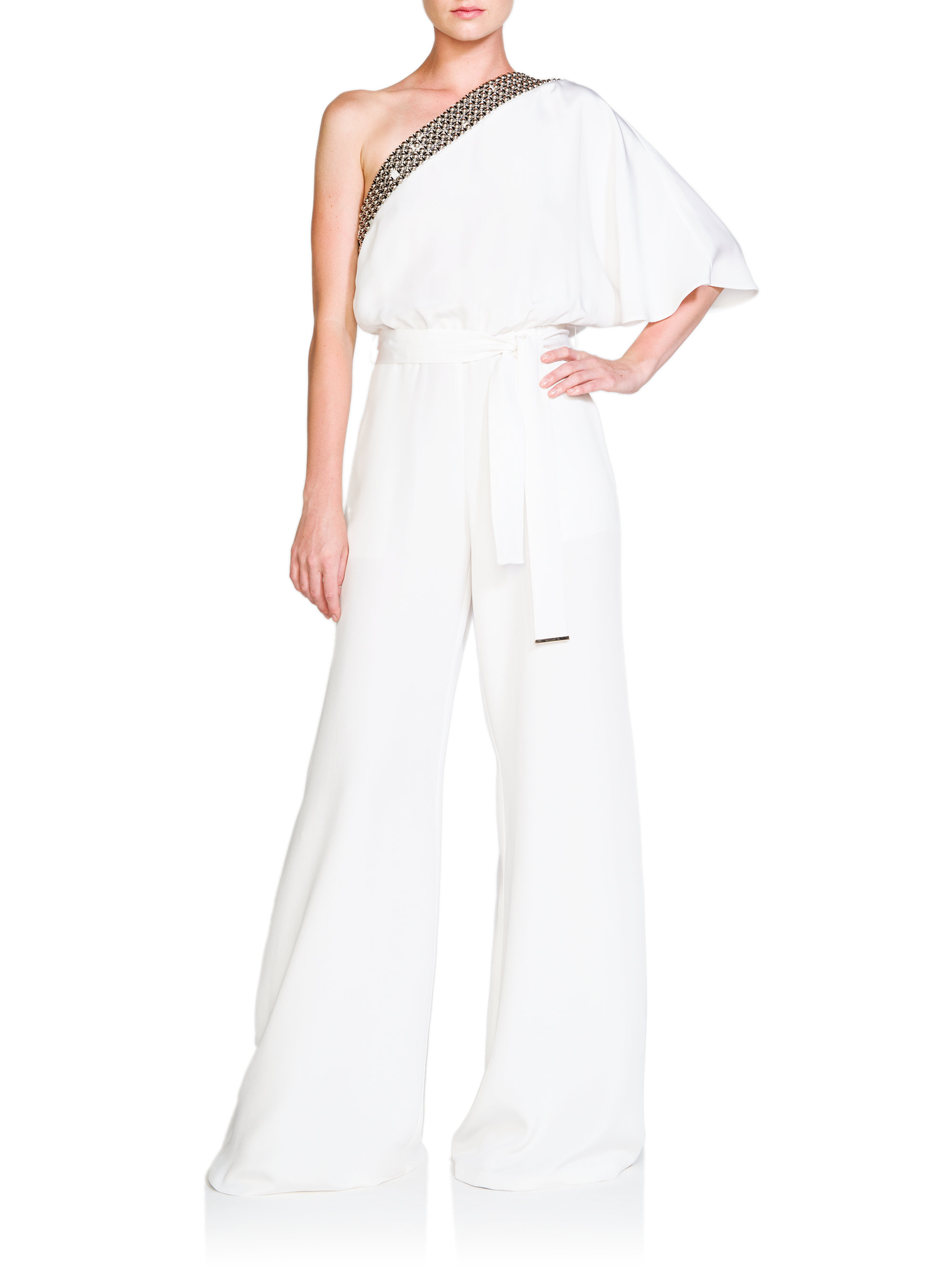 Emilio pucci Studded One-Shoulder Silk Jumpsuit in White | Lyst
