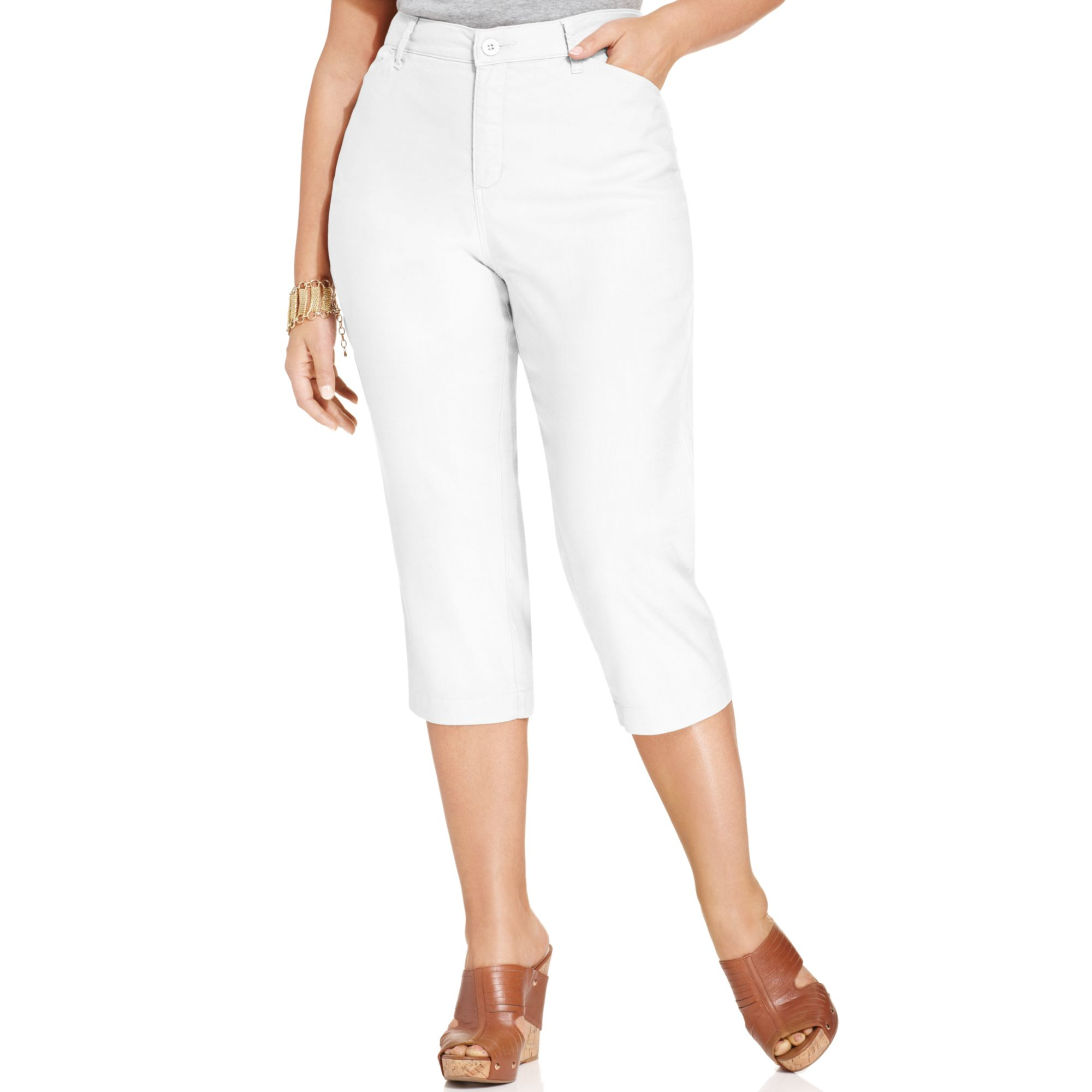 Lyst - Nydj Plus Size Tatum Linen Cropped Pants in White