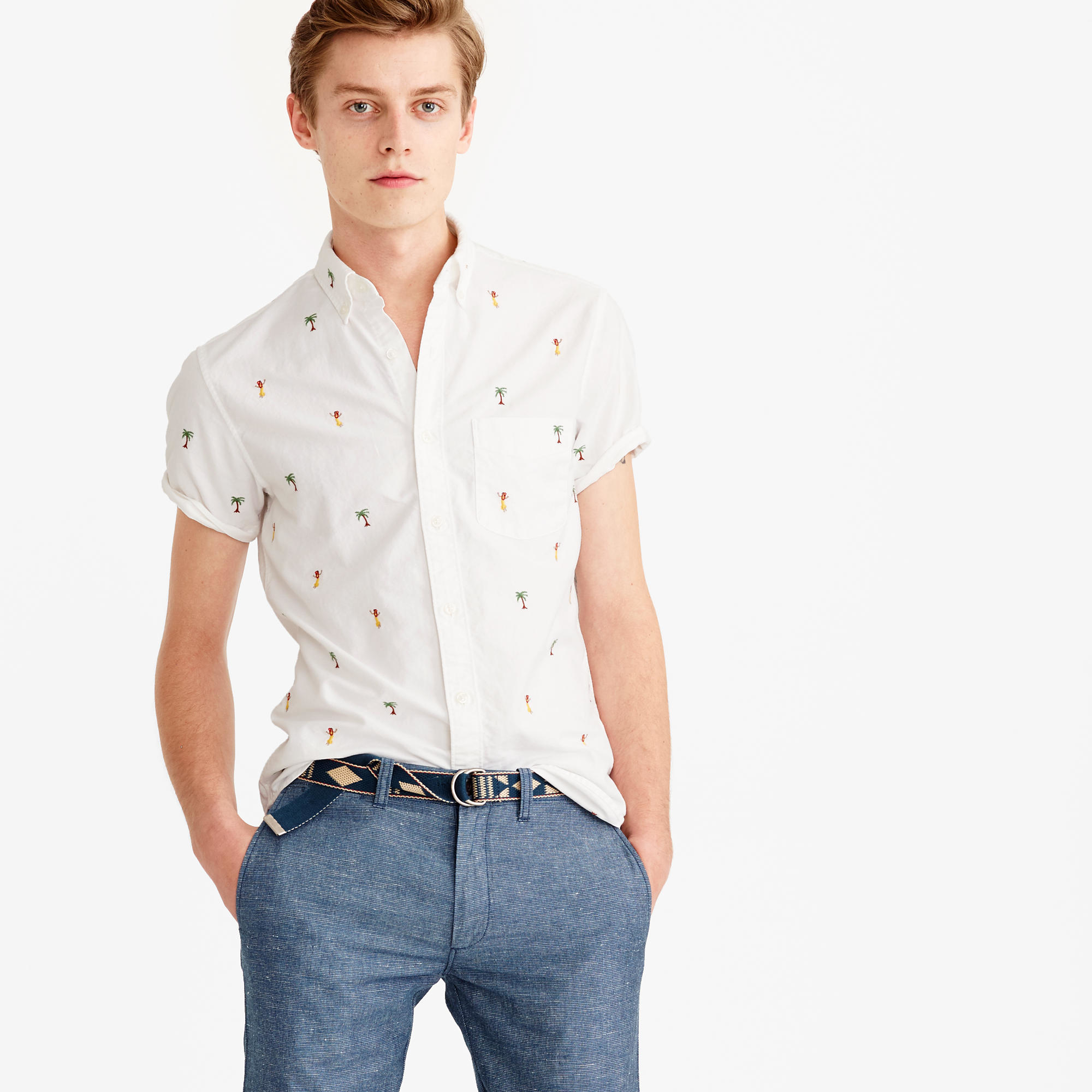 Lyst j crew short sleeve oxford shirt with embroidered for Oxford shirt with tie