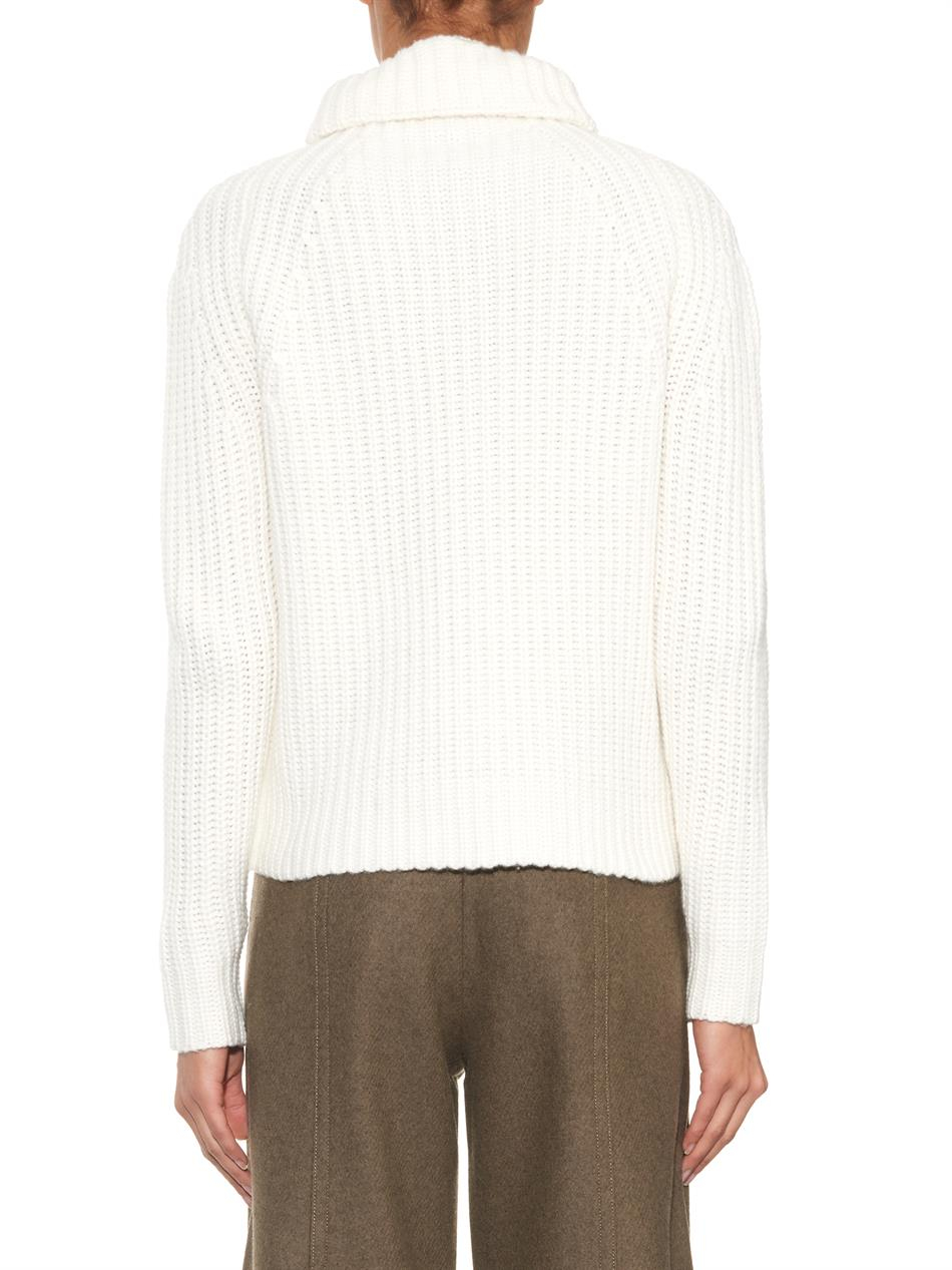 Joseph Roll-Neck Chunky-Knit Sweater in Natural Lyst