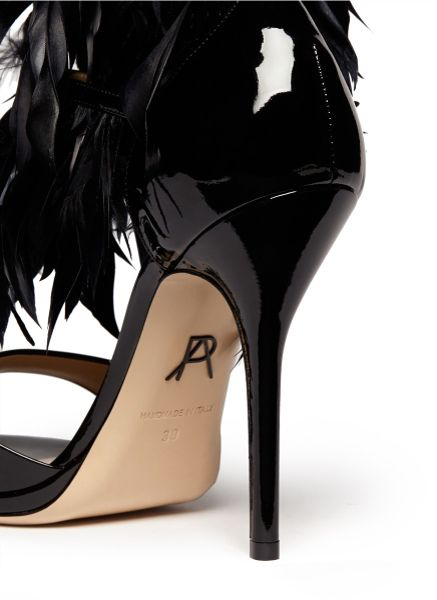 Paul Andrew Amazon Feather Patent Leather Sandals In Black
