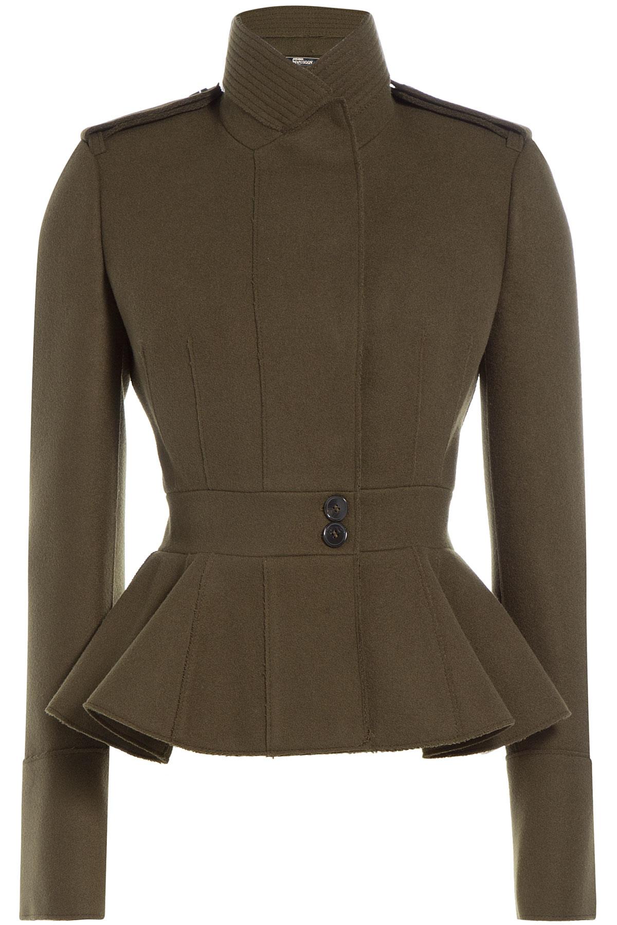 Alexander mcqueen Military-inspired Wool Peplum Jacket - Green in ...