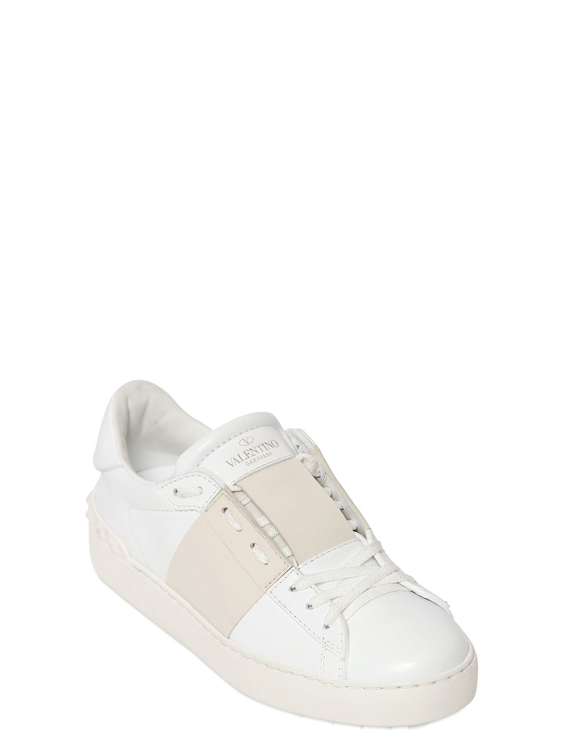Valentino Open Leather Sneakers With Colored Band in White | Lyst