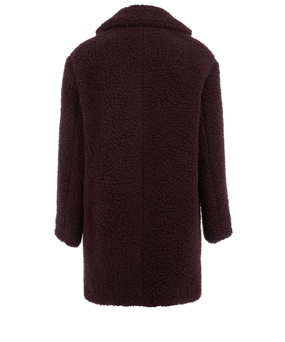 Kenzo Burgundy Boucle Pea Coat in Purple | Lyst
