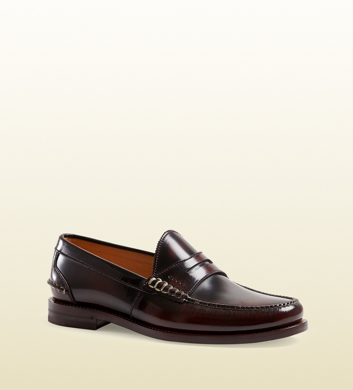 Lyst - Gucci Polished Leather Penny Loafer in Purple for Men
