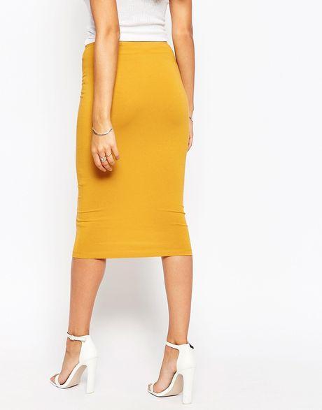asos jersey knee length pencil skirt in yellow mustard