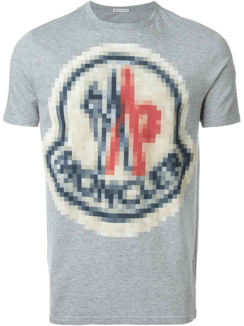 lyst moncler pixel logo print t shirt in gray for men. Black Bedroom Furniture Sets. Home Design Ideas