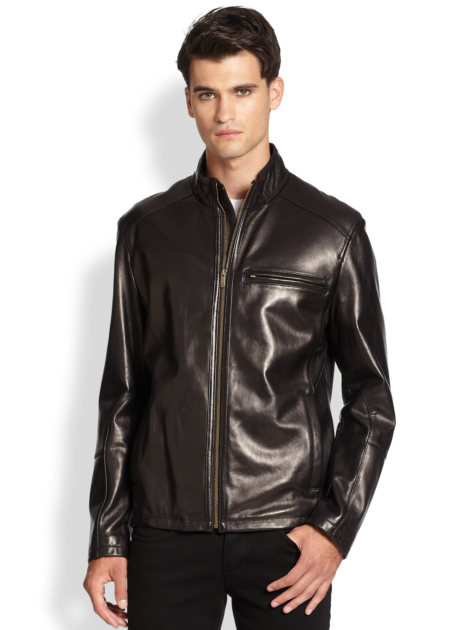 Cole haan Smooth Leather Moto Jacket in Black for Men - Save 1% | Lyst