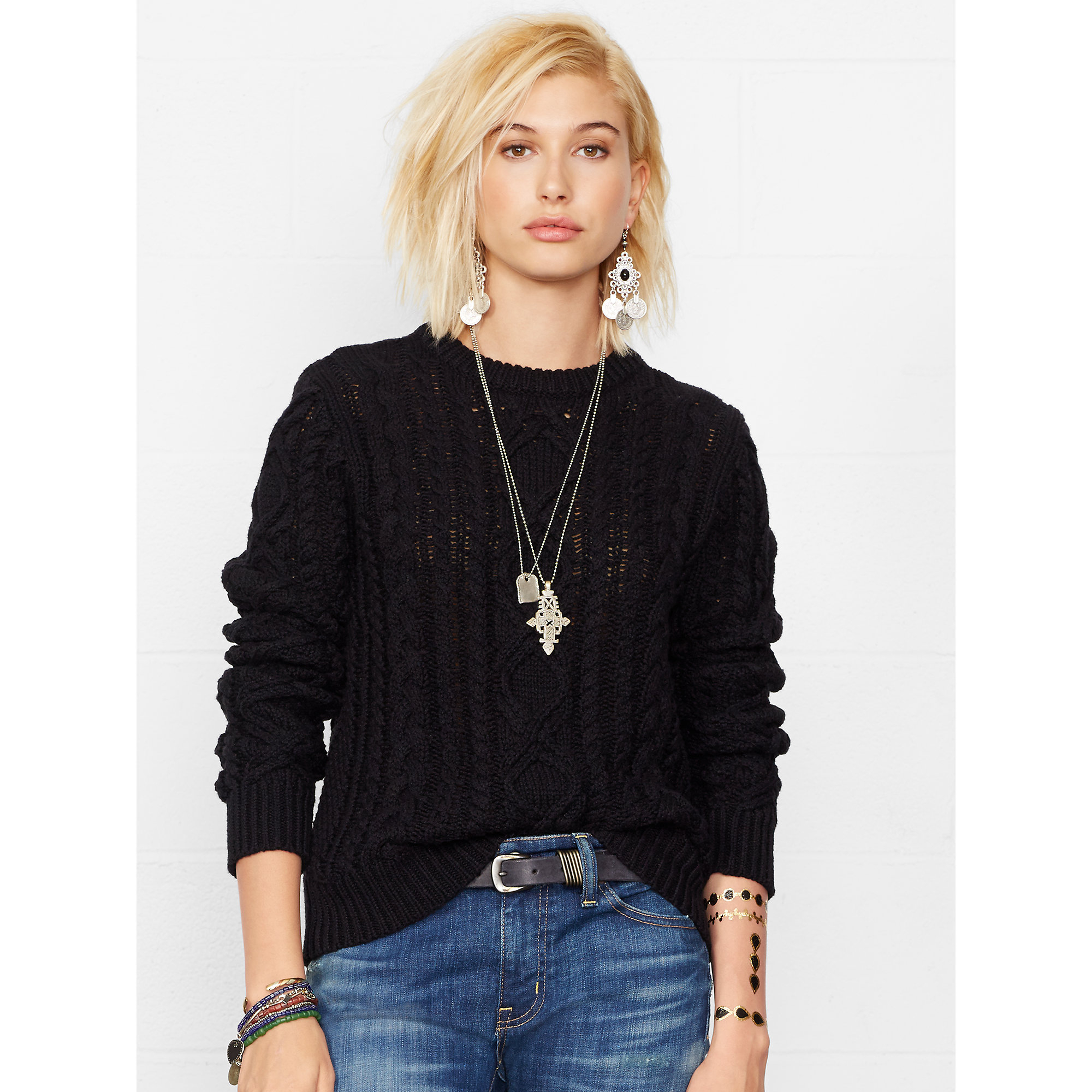 Denim & supply ralph lauren Cable-knit Crewneck Sweater in Black ...