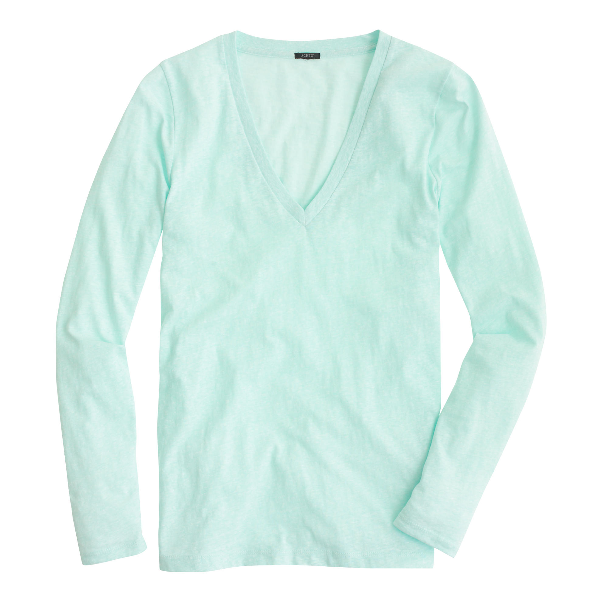 Speckled cotton long sleeve v neck t shirt in blue for Cotton long sleeve v neck t shirts