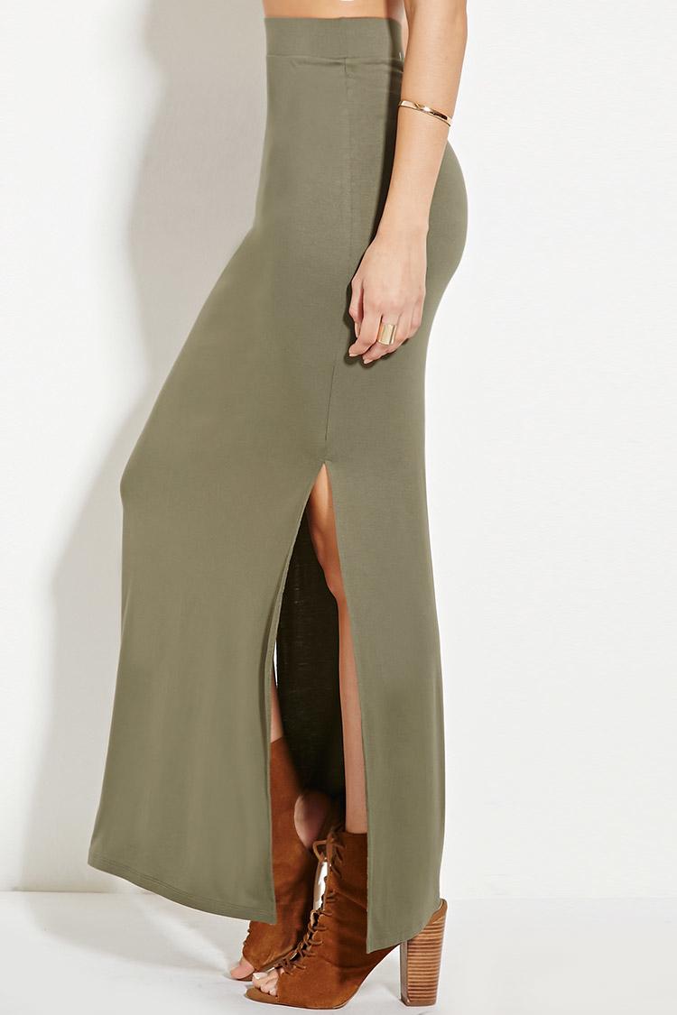 forever 21 side slit maxi skirt in green lyst