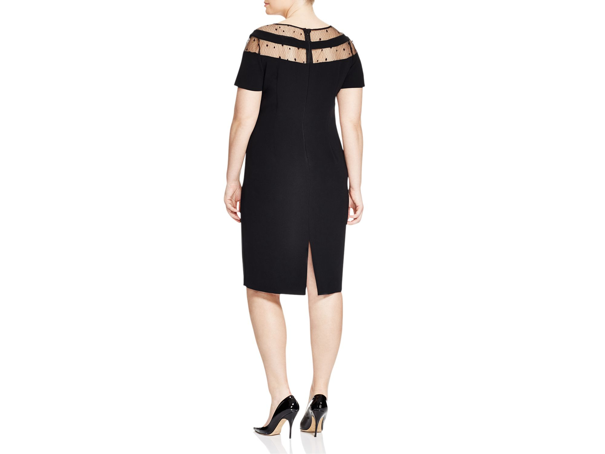 Lyst marina rinaldi danae illusion dress in black for Marina rinaldi wedding dresses