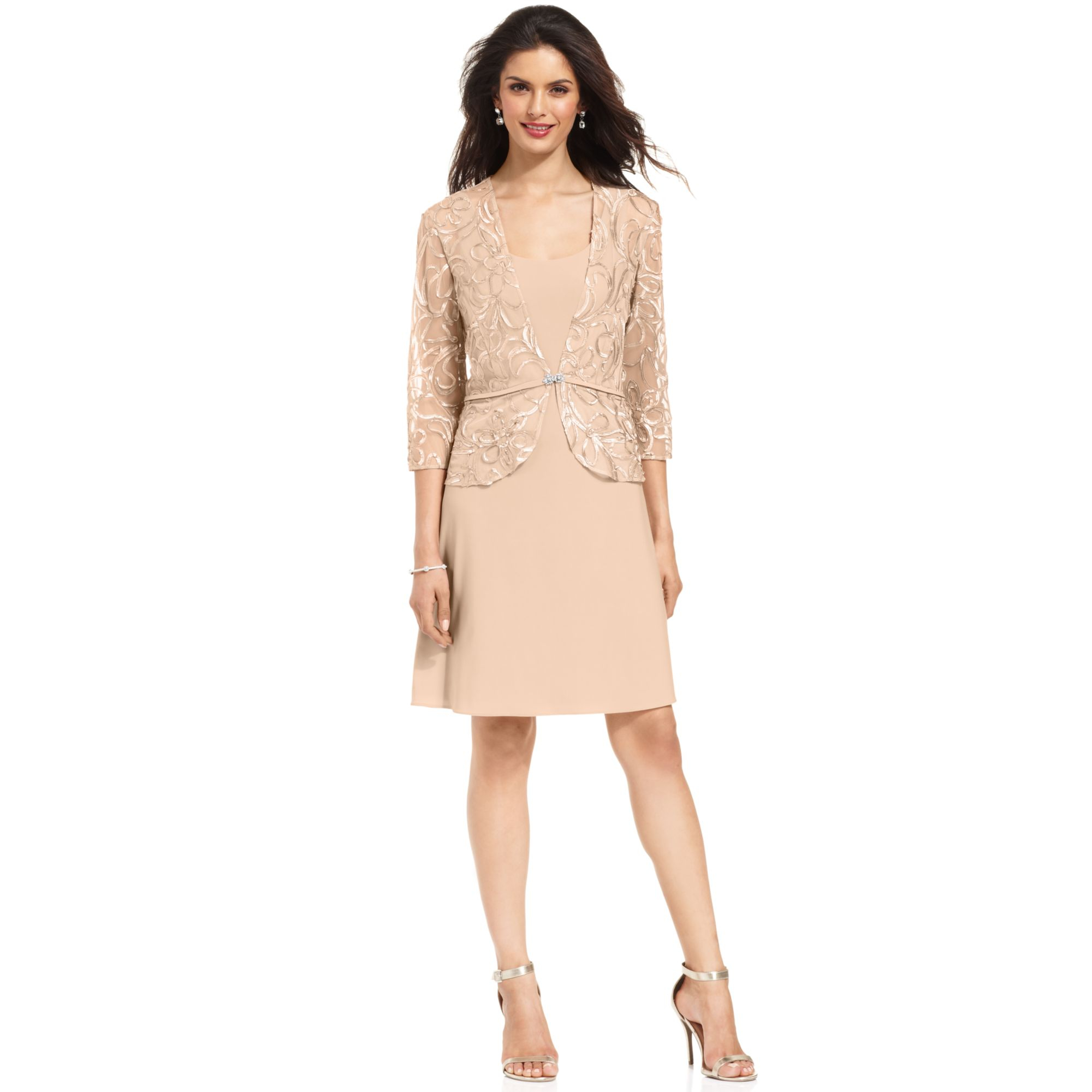 patra petite sleeveless embroidered dress and jacket in beige champale lyst. Black Bedroom Furniture Sets. Home Design Ideas