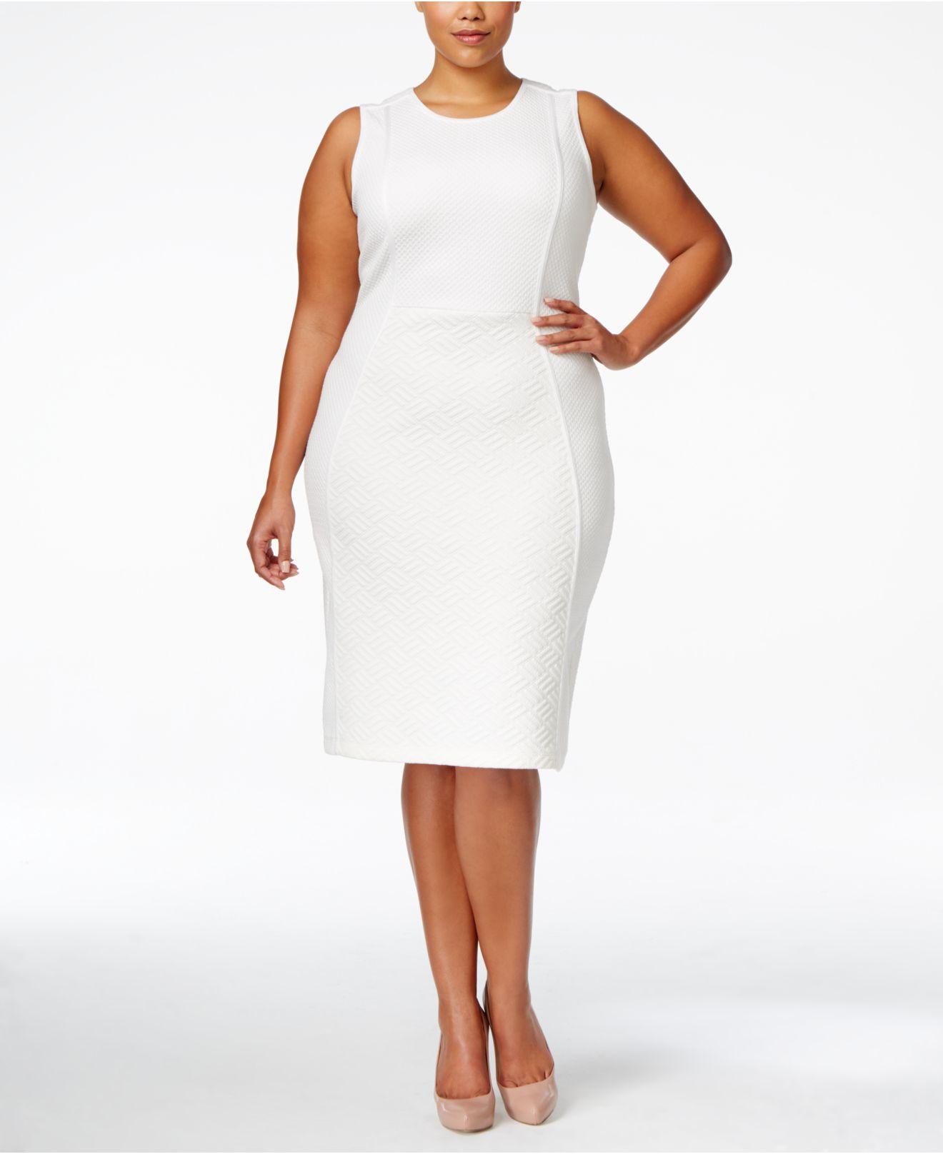 White Plus Size Sheath Dress – Fashion dresses