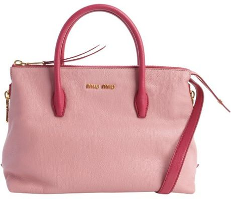 c0a988feaff Miu Miu Pink Leather Logo Imprinted Convertible Top Handle Tote in Pink