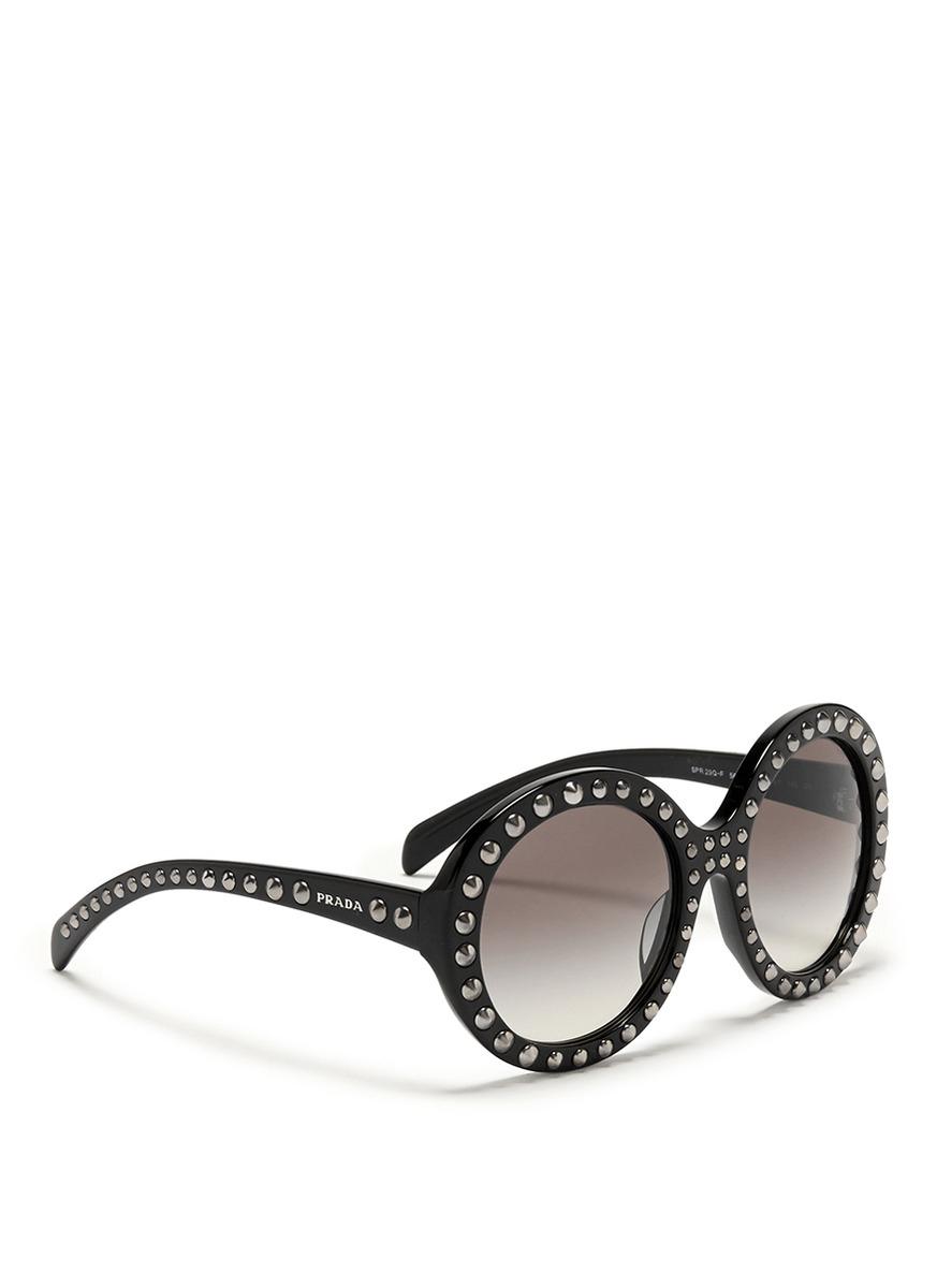 e004ecb445 ... promo code for lyst prada stud round frame acetate sunglasses in black  af73d b6b33 ...