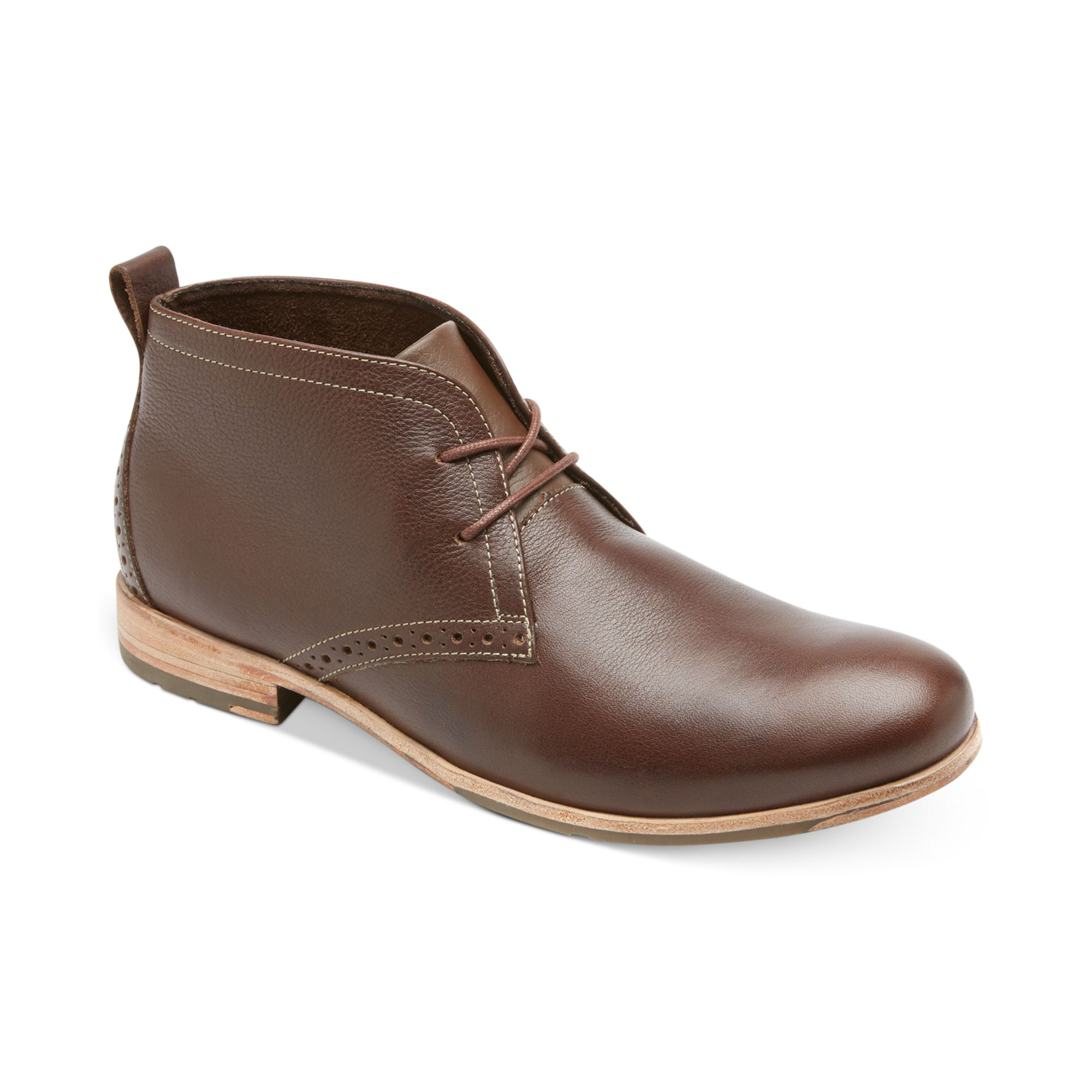 rockport castleton desert boots in brown for rum