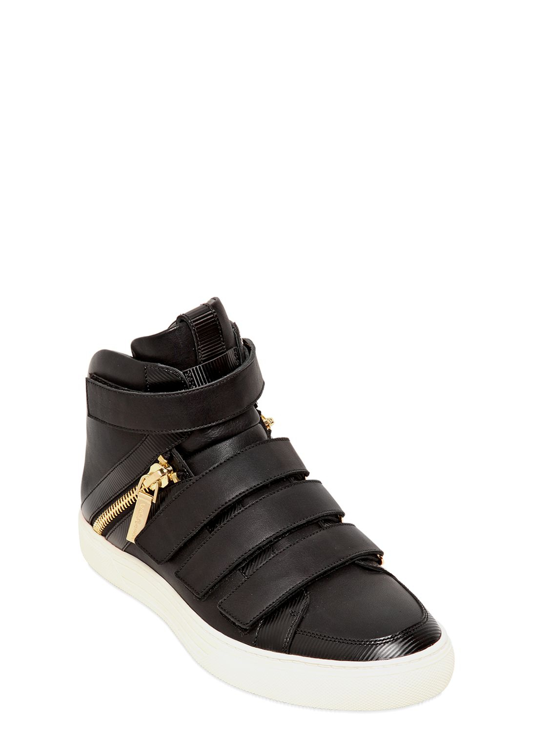 Lyst Balmain Velcro Nappa Leather High Top Sneakers In