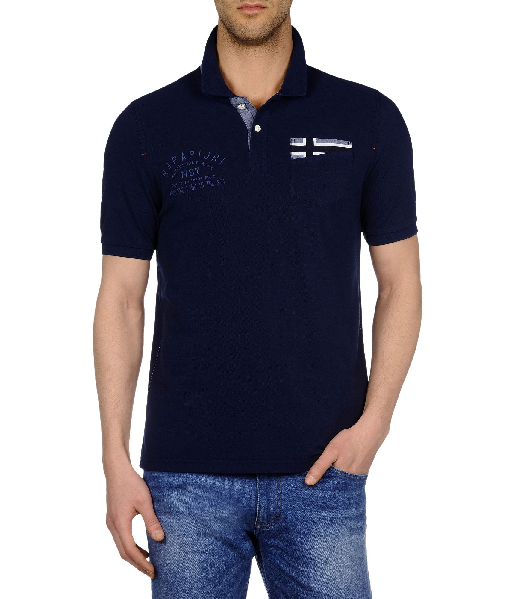 Napapijri polo shirt in blue for men dark blue lyst Man in polo shirt