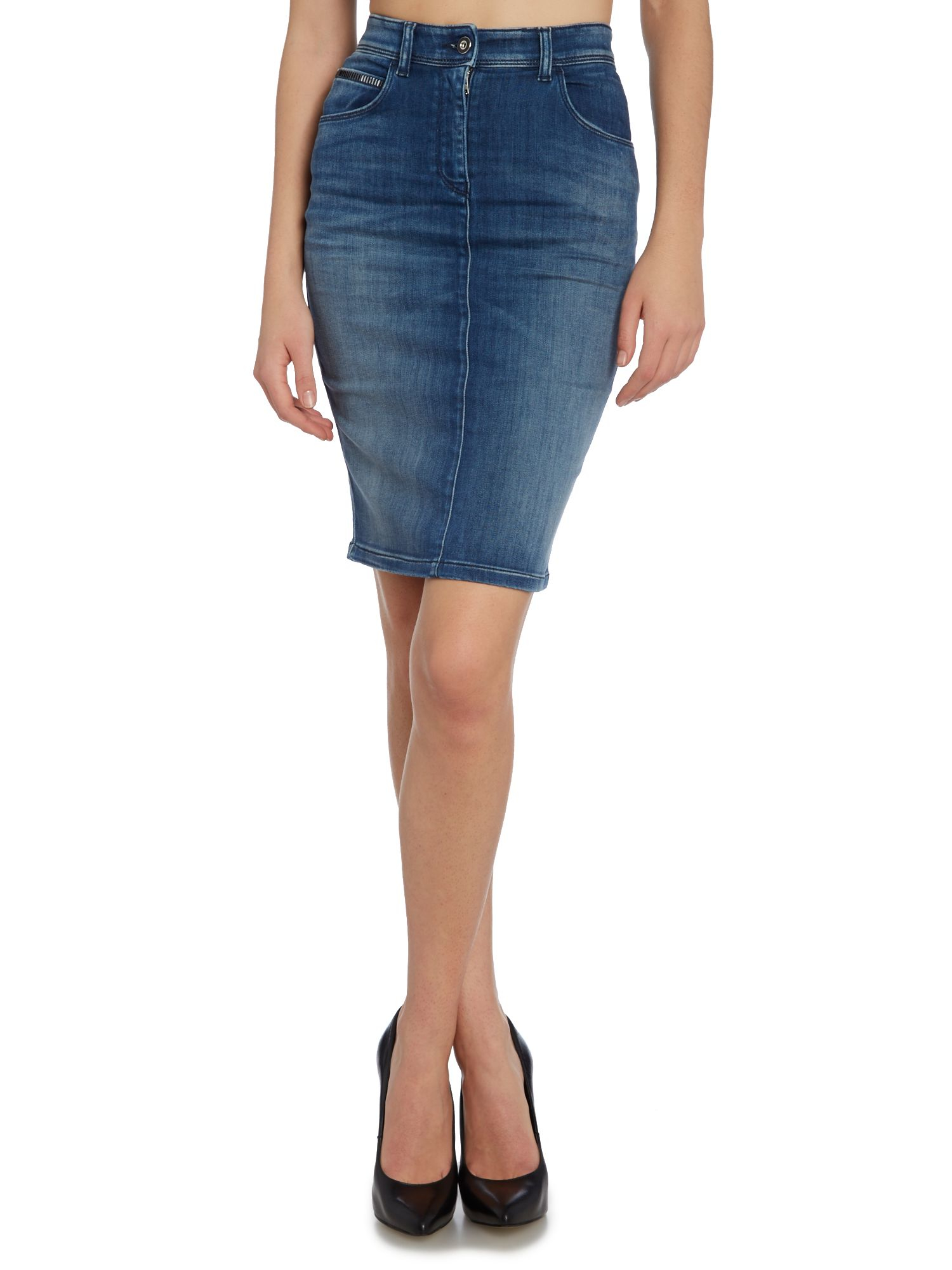 Women's High Waist Washed Jeans Skirts Denim Pencil Skirts $ 23 99 Prime. out of 5 stars ECHOINE. Women Distressed Stretch High Waist Knee Length Denim Pencil Skirt. from $ 24 90 Prime. 3 out of 5 stars 21 [BLANKNYC] Women's Denim Pencil Skirt $ 88 00 Prime. 5 out of 5 stars 2. MSSHE.