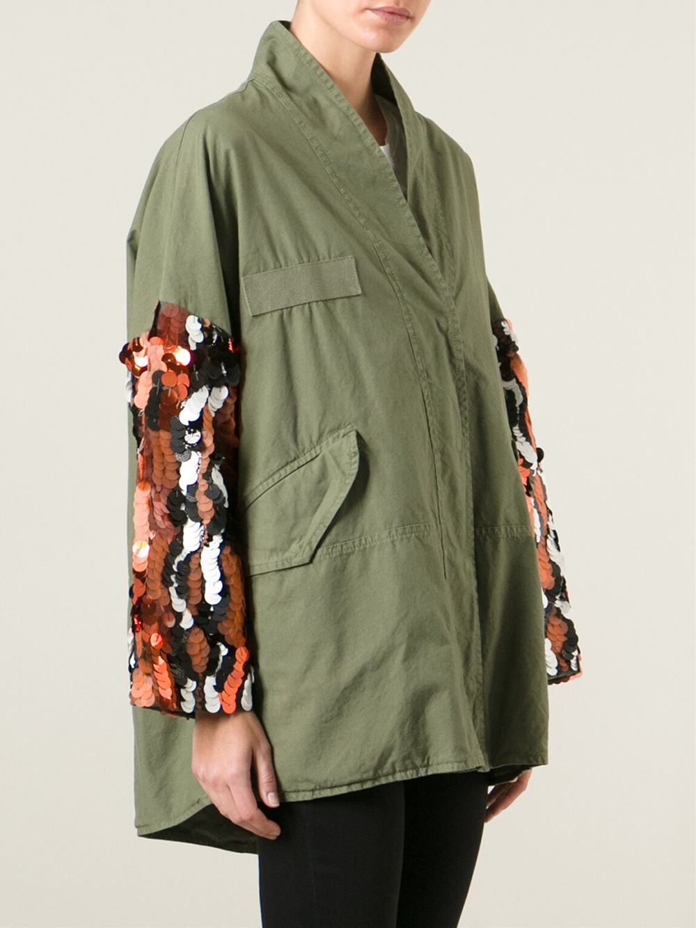 Lyst Mr Amp Mrs Italy Sequin Sleeve Military Jacket In Green