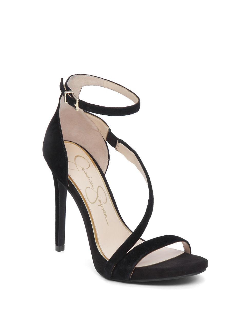 Lyst Jessica Simpson Asymmetrical Strap Heels In Black