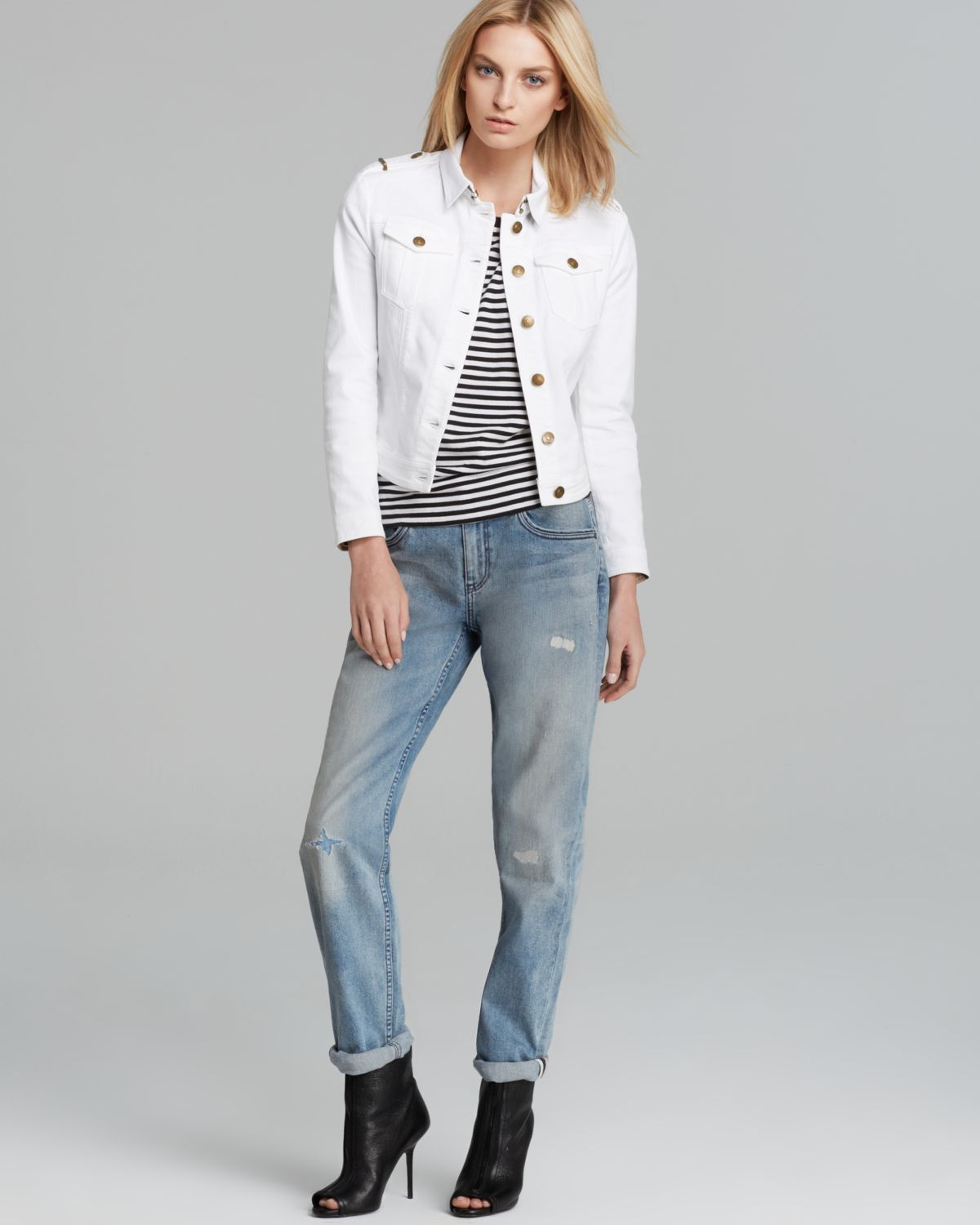 9e046a64928b Lyst - Burberry Brit Brierly Jean Jacket in White