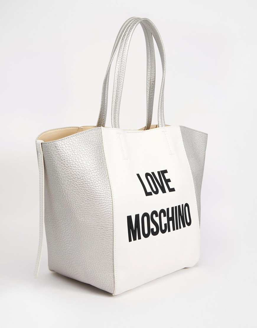 love moschino logo shopper bag in white lyst. Black Bedroom Furniture Sets. Home Design Ideas