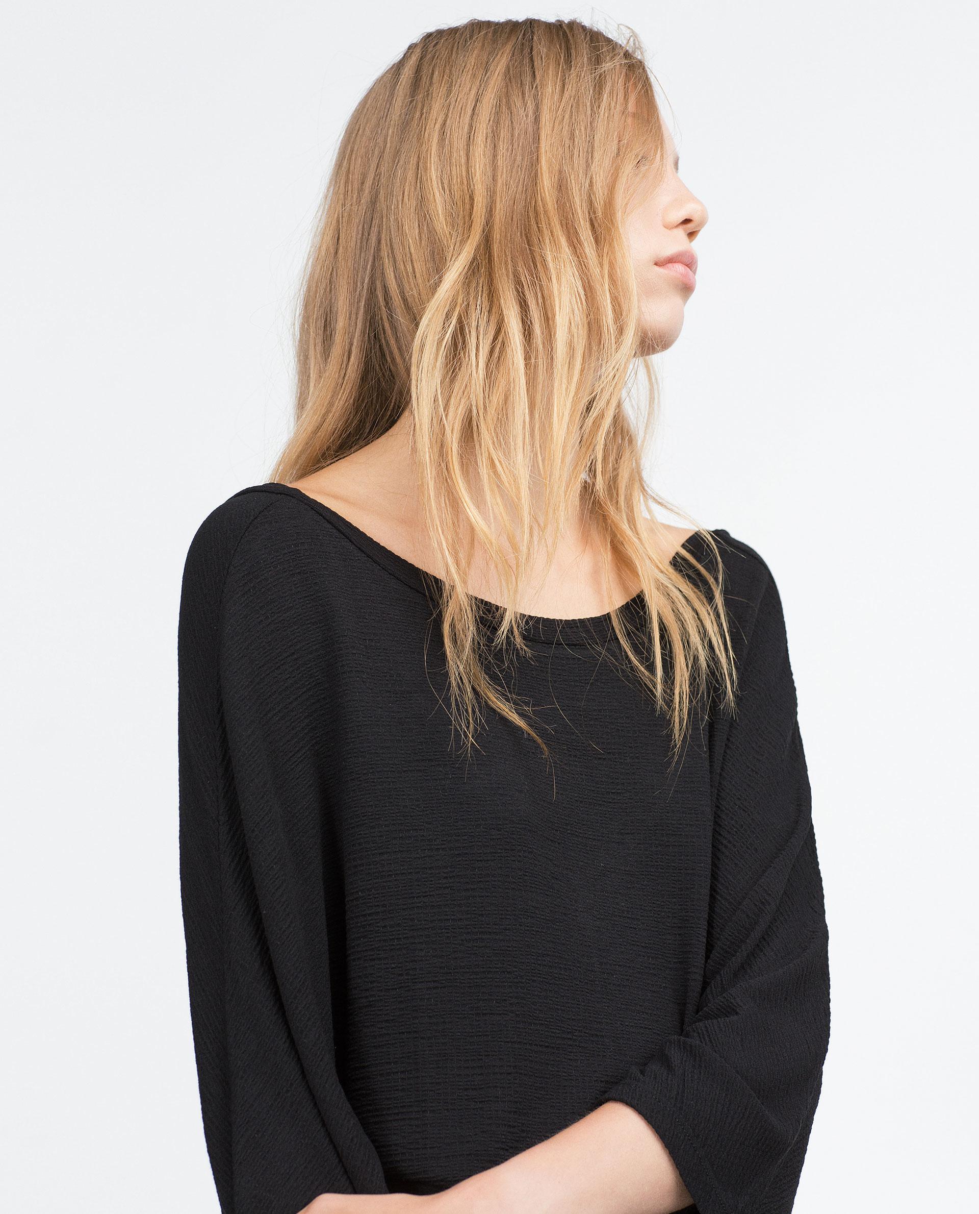 Zara t shirt with v neck back in black lyst for V neck back shirt