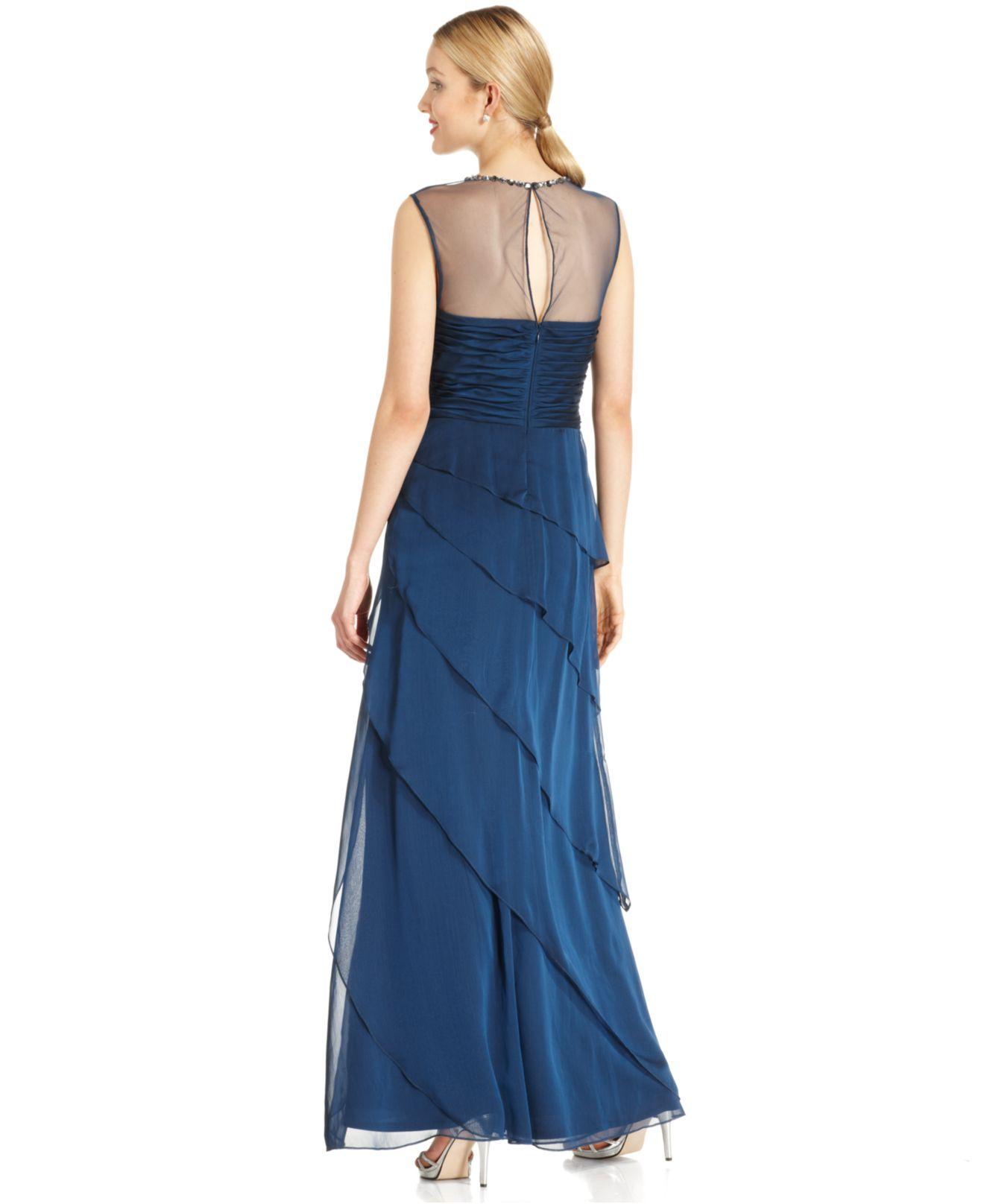Lyst - Adrianna Papell Sleeveless Beaded Tiered Gown in Blue