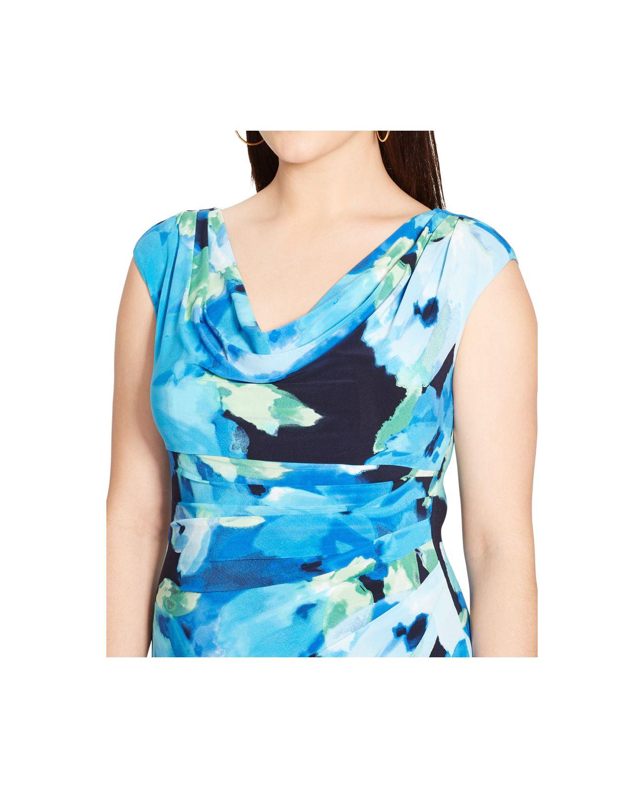 11c9309d Lauren by Ralph Lauren Plus Size Floral-Print Cowl-Neck Dress in ...