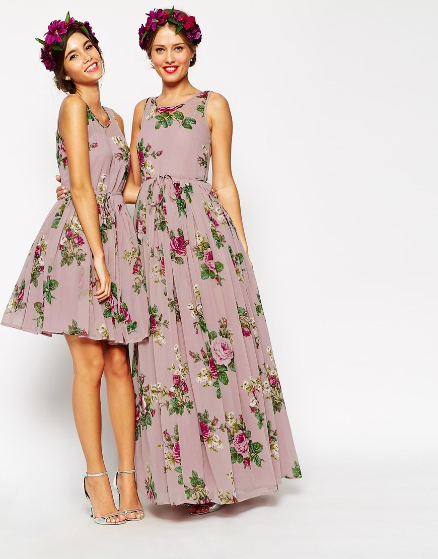 Asos wedding super full maxi dress in floral print in pink for Purple maxi dresses for weddings