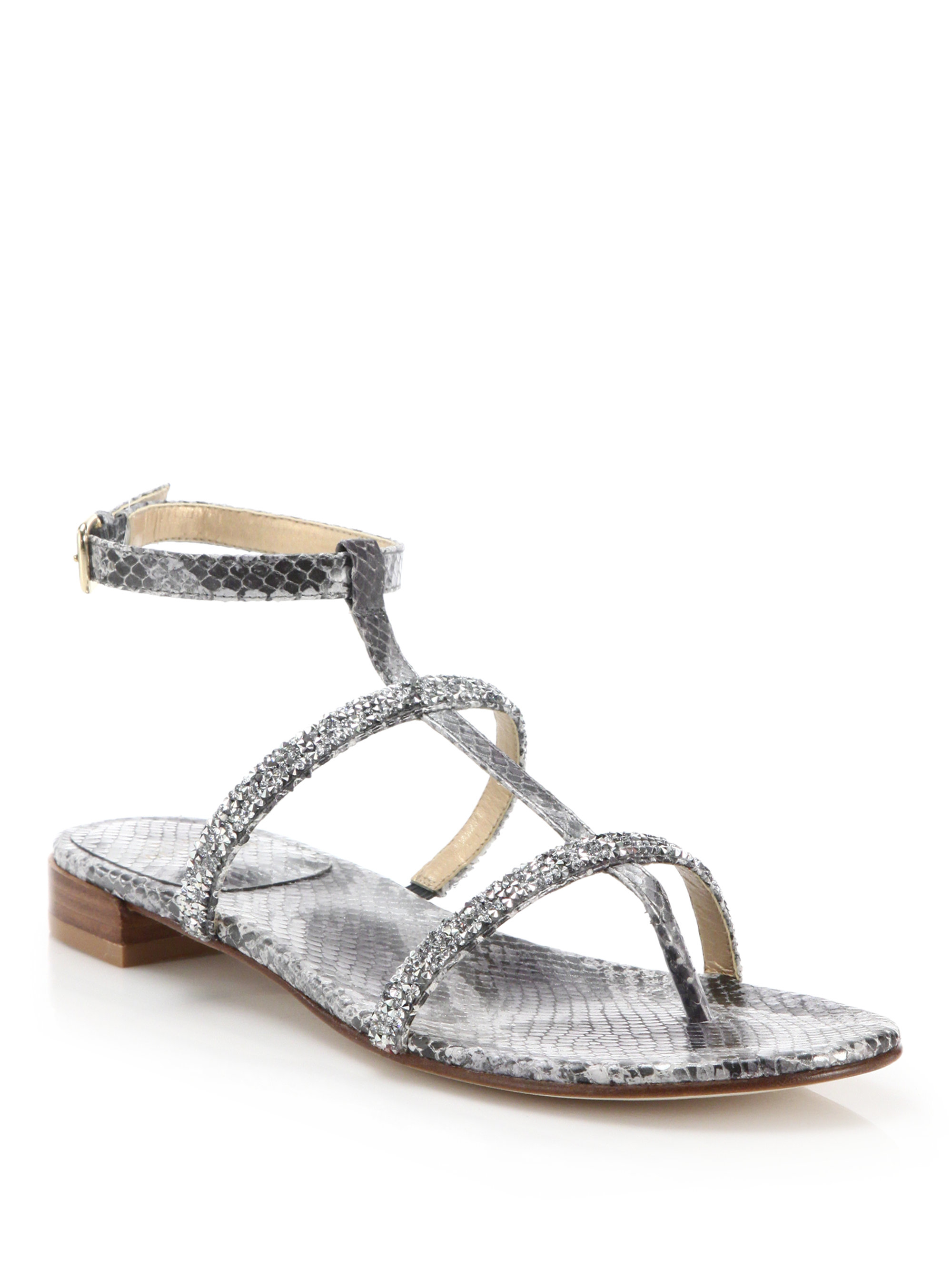 clearance in China authentic sale online Stuart Weitzman Leather Embossed Sandals wide range of sale online LIhq1JwV4P