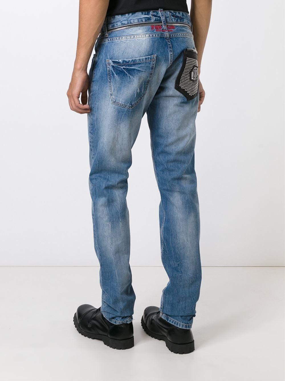 philipp plein distressed straight leg jeans in blue for men lyst. Black Bedroom Furniture Sets. Home Design Ideas