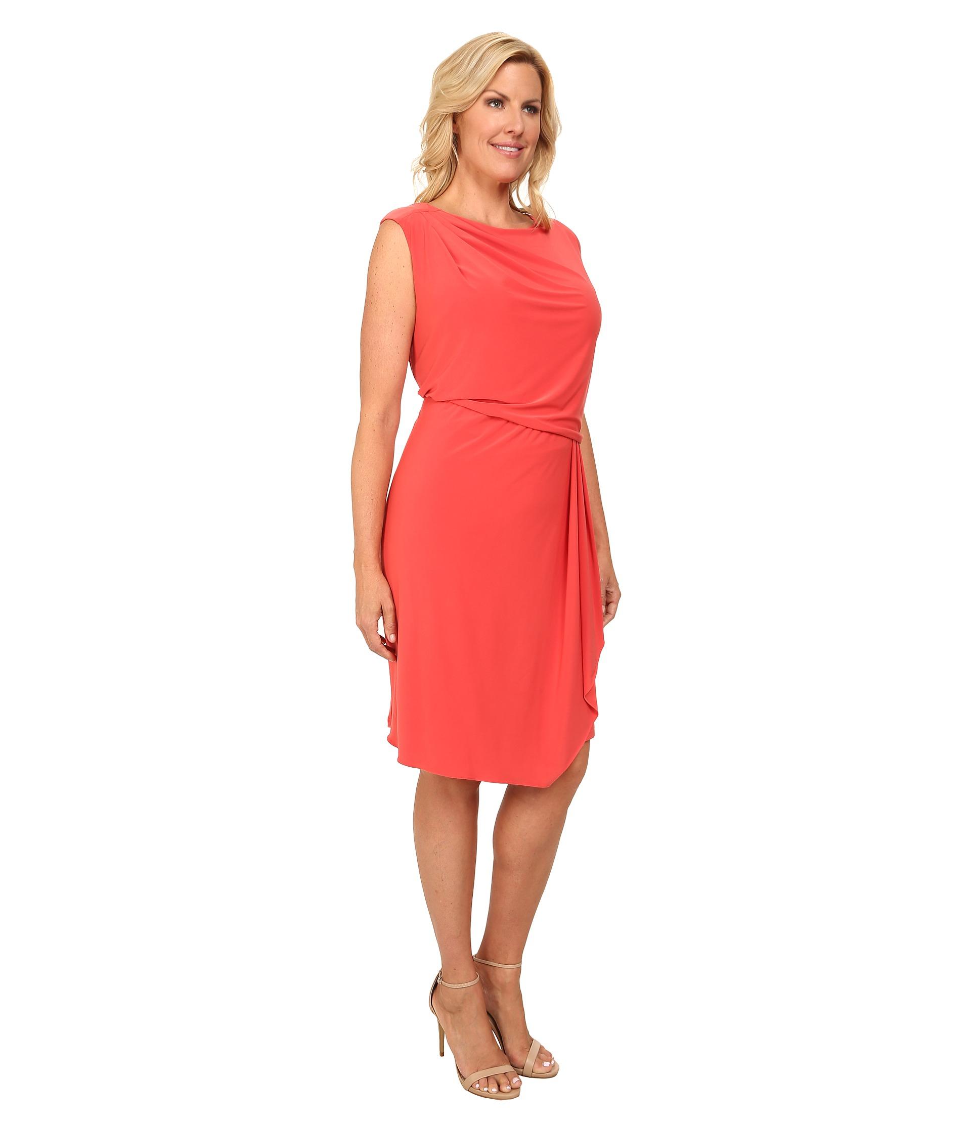 Asymmetric Drape Dress: Adrianna Papell Plus Size Asymmetrical Drape Jersey