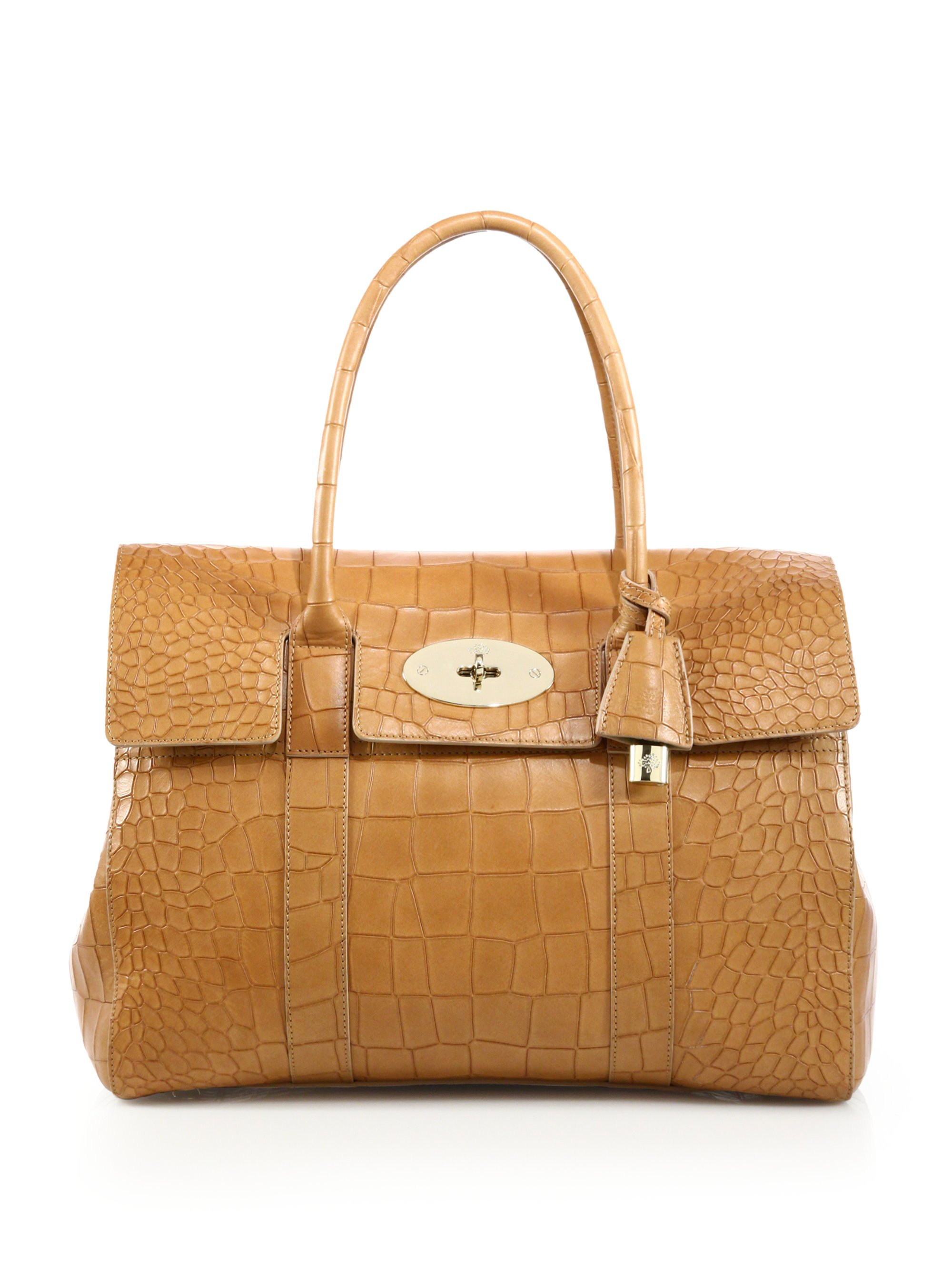 539358f4555d Lyst - Mulberry Croc Embossed Bayswater Tote in Brown