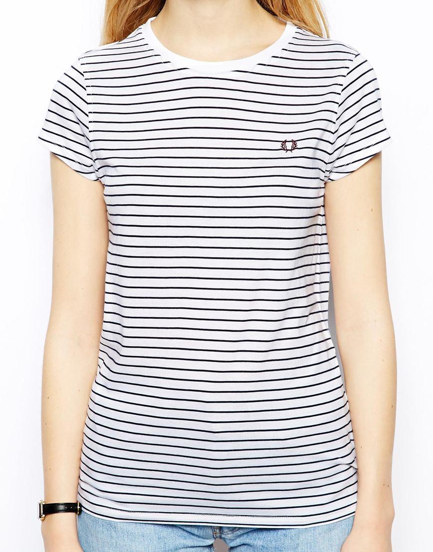 f93706601 Fred Perry Striped Tshirt in Blue - Lyst