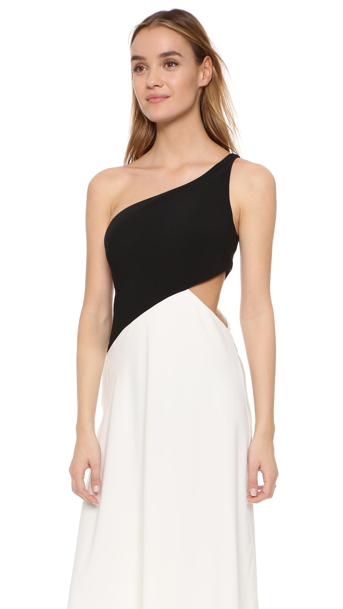 Jill Jill Stuart One Shoulder Cutout Gown in Black - Lyst