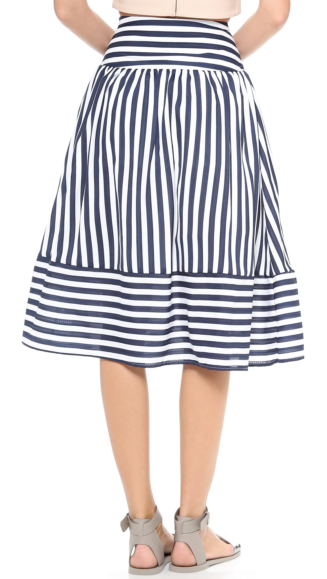 joa striped skirt navy stripe in blue navy stripe lyst