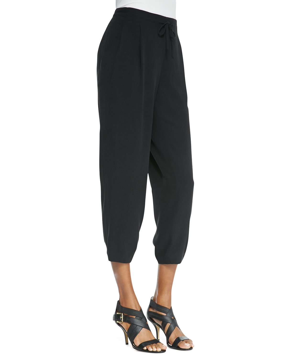 Eileen fisher Silk Drawstring Cropped Pants in Black | Lyst
