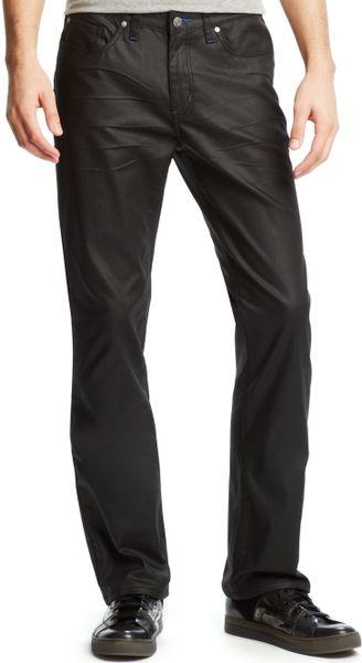 Kenneth Cole Reaction Coated Super Slim Fit Jeans In Black