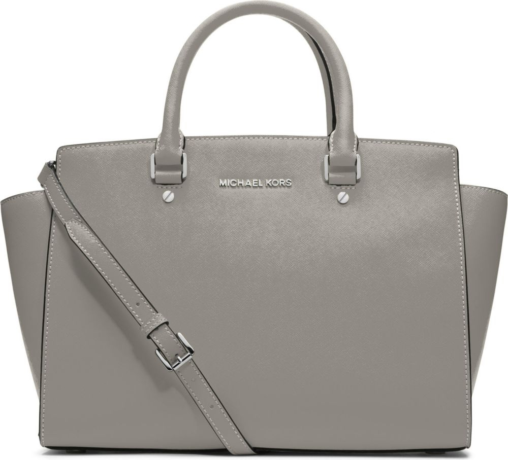 michael michael kors selma large saffiano leather satchel bag in gray light grey lyst. Black Bedroom Furniture Sets. Home Design Ideas