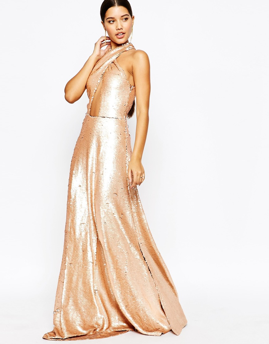 79780b5aae0 Club L Showstopper 2 Tone Sequin Maxi Dress in Pink - Lyst